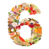 Number 6 made of food — Stock Photo