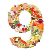 Number 9 made of food — Stock Photo