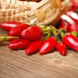 Basket of red hot chili peppers — Stock Photo #13606940
