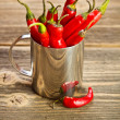 Chili bunch in cup  — Stock Photo