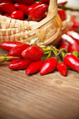 Basket of red hot chili peppers — Foto de Stock