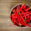 Red chili peppers in bowl — Stock Photo
