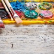 Used watercolor paintbox — Stock Photo