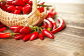 Basket of red hot chili peppers — Stock Photo