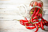 Jar of chilly pepper — Stock Photo