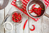Röd chili peppers — Stockfoto