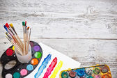 Box of watercolors and paintbrushes — Stock Photo