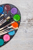 Paint and brushes — Foto Stock