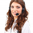 Operator woman with headset — Stock Photo