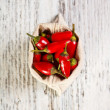 Red peppers in bag — Photo