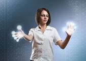 Businesswoman with interface — Zdjęcie stockowe