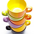 Color cups tower — Stock Photo