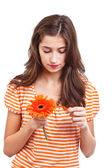 Girl whit flower — Stock Photo