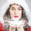 Young girl in santa cloth — Foto Stock