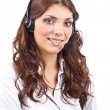 Phone operator in headset — Stock Photo