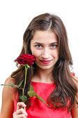 Donna con rosa — Foto Stock