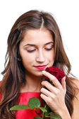 Woman with rose — Stockfoto