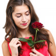 Woman with rose — Photo