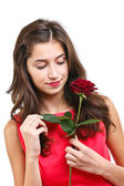 Woman with rose — Foto de Stock
