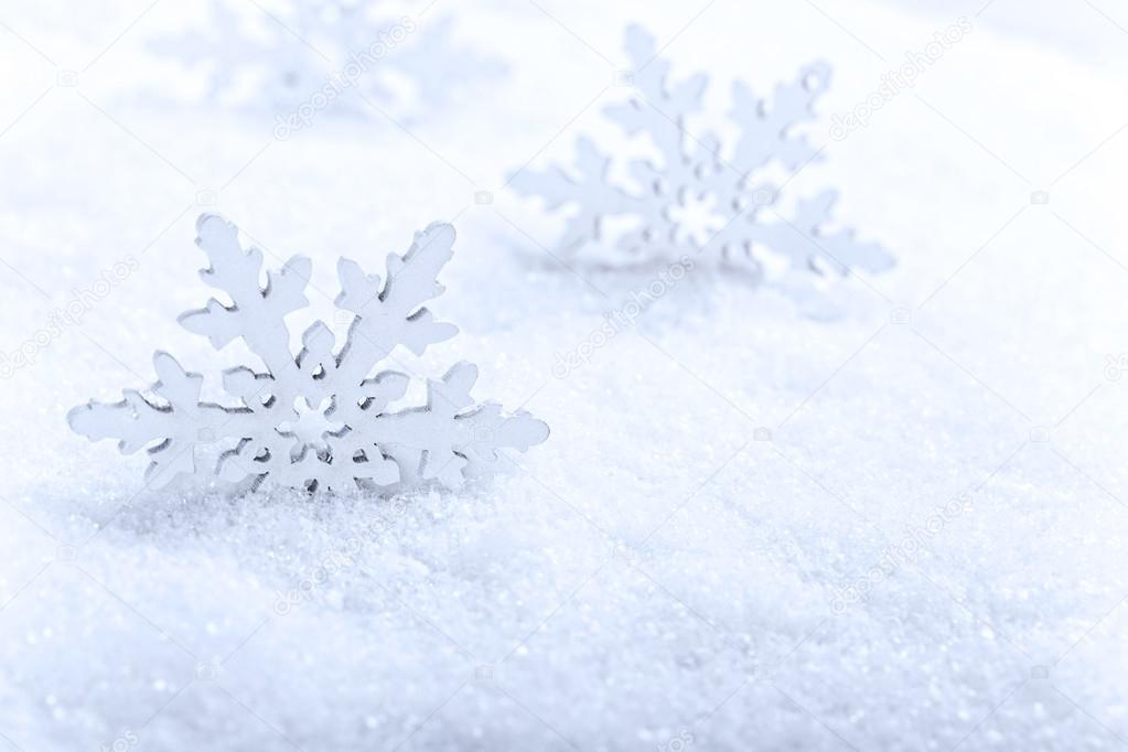 Snowflakes in white snow, Christmas concept  Stock Photo #15536339