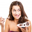 Woman with slice of cake — Stock Photo