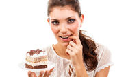 Woman with a cake — Stock fotografie