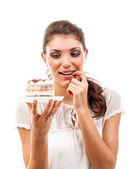 Woman with a cake — Stock Photo