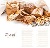 Different types of bread — Stockfoto