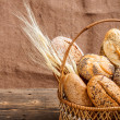 Basket with bread — Stockfoto