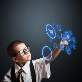 Boy in an adult business suit — Stock Photo