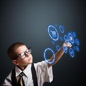 мальчик в костюме взрослого бизнеса — Стоковое фото