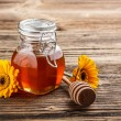 Sweet honey in jar — Stock Photo