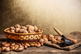 Basket of walnuts — Stock Photo