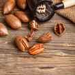 Cracked pecan nuts — Stock Photo
