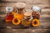 Honey, pollen and propolis — Stock Photo
