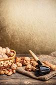 Still life of nuts fruit — Stock Photo