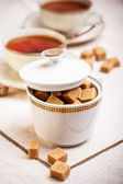 Porcelain sugar bowl — Stock Photo
