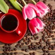 Red cup of coffee — Stockfoto