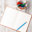 Color pencil and notepad — Stock Photo