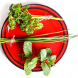 Plate of herbs — Foto de Stock