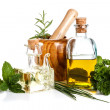 Stock Photo: Olive oil and herbs