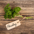 Parsley with label — Photo