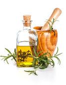 Rosemary oil bottle — Stock Photo