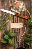 Herbs with label — Stock Photo