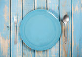 Blue dinner set — Stock Photo
