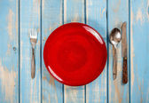Empty red plate — Stock Photo