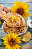 Pancakes with lemon — Stock Photo