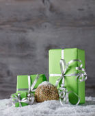 Green Christmas gifts — Stock Photo