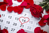 Heart shape in the calendar — Stock Photo