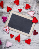 Handmade felt hearts — Stock Photo